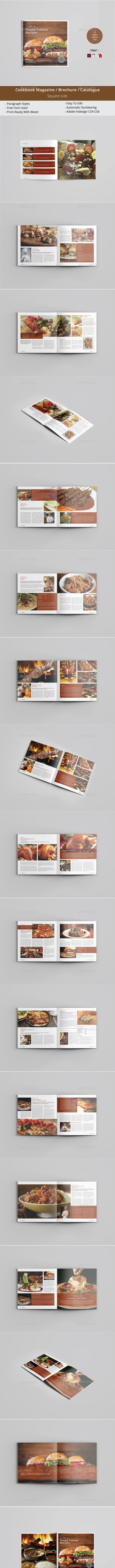 Square Cookbook magazine / Brochure Template - Magazines Print Templates