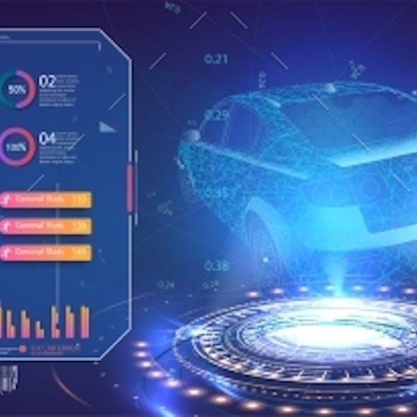 Futuristic Car User Interface. Hologram Car Style