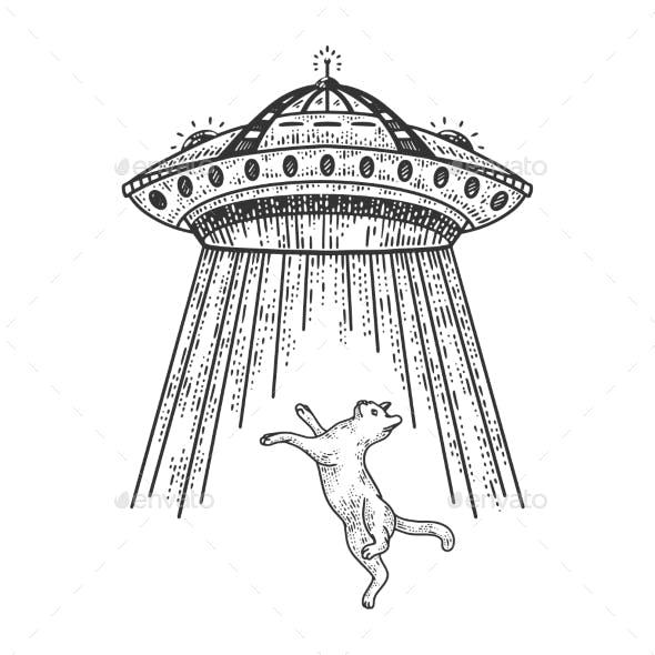 UFO Steals Cat Sketch Vector Illustration