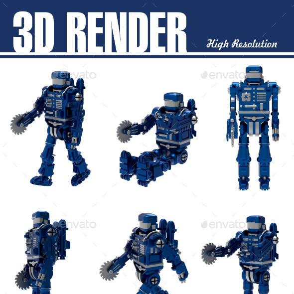 Set of Blue Robot