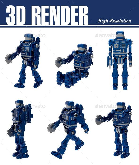 Set of Blue Robot - Technology 3D Renders