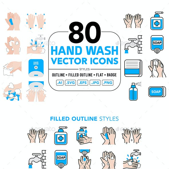 Hand Wash Vector Icons