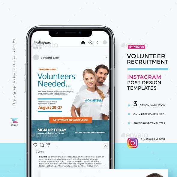 Volunteer Recruitment Instagram Post Templates