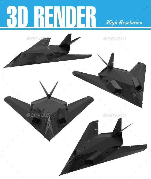 Military Stealth Aircraft - Technology 3D Renders
