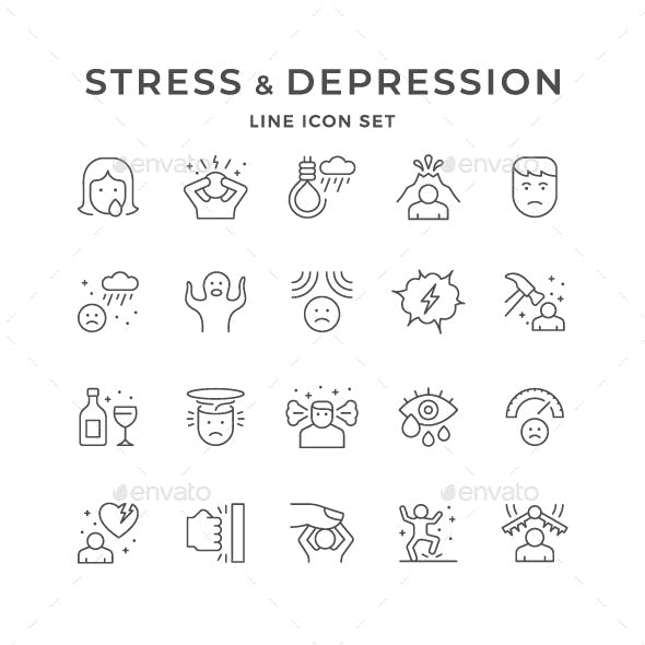 Set Line Icons of Stress and Depression