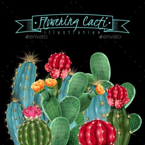 Flowering Cacti Vector Illustration