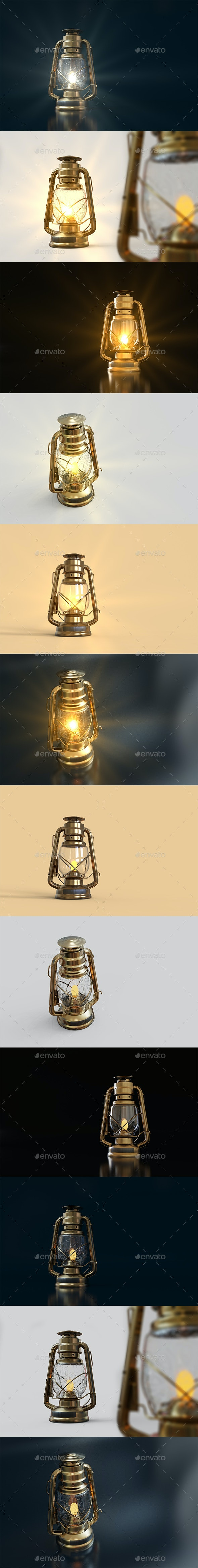 Old Style Lantern With Background - Miscellaneous 3D Renders
