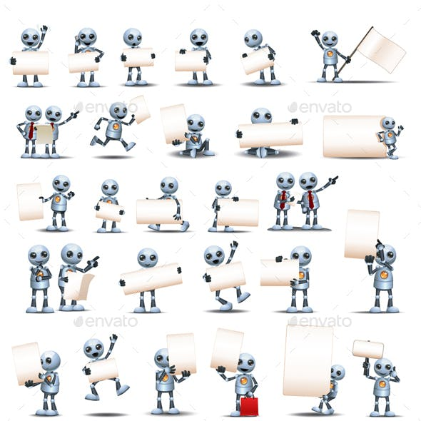 Various Robots Holding Blank Business Signs
