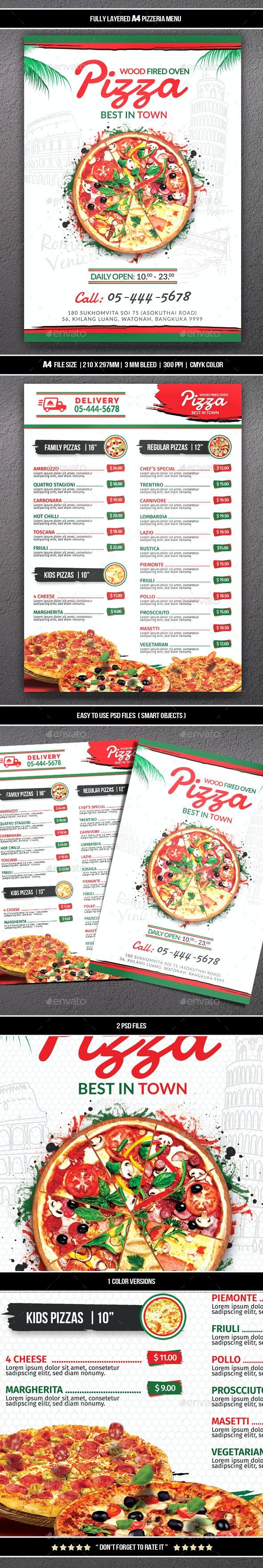 Pizza Menu - Food Menus Print Templates