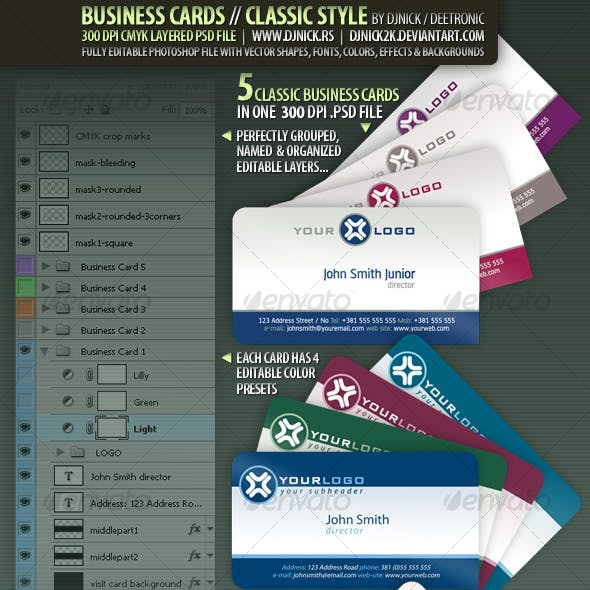 Business Cards - Classic Style by djnick deetronic