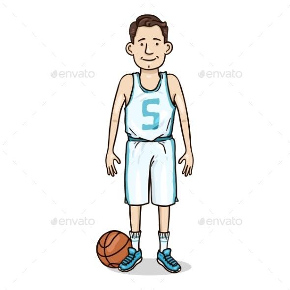 Vector Cartoon Character Man in Basketball Uniform