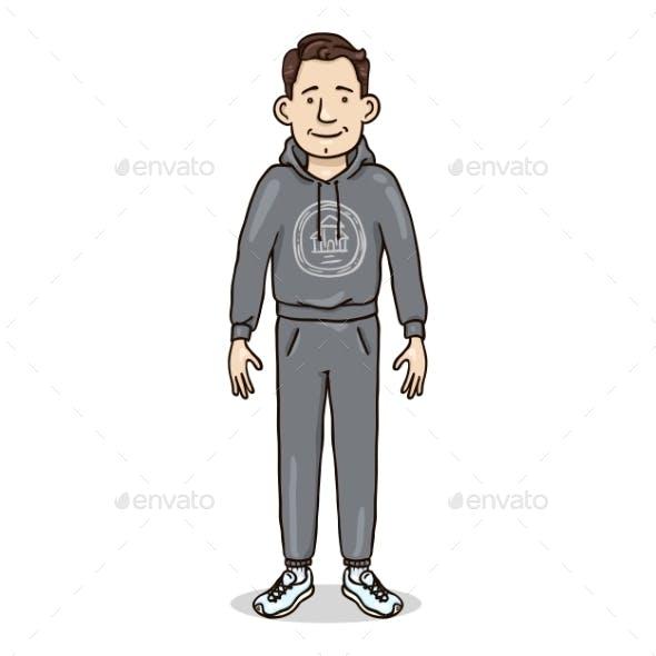 Vector Cartoon Character - Young Man in Gray Sport Suit