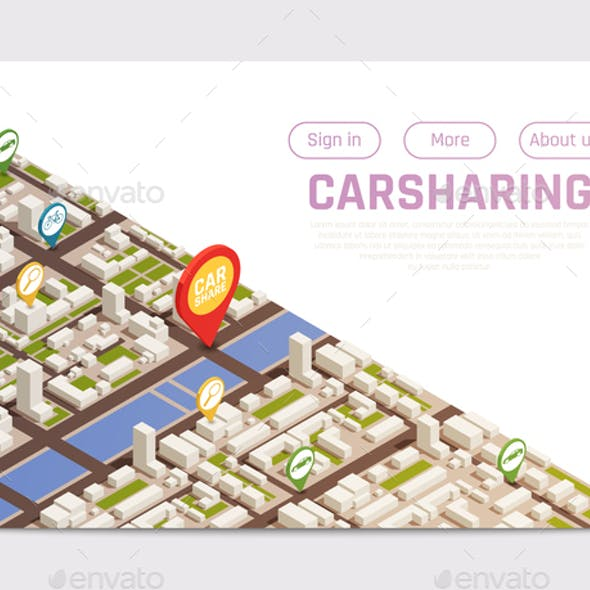Isometric Carsharing Landing Page