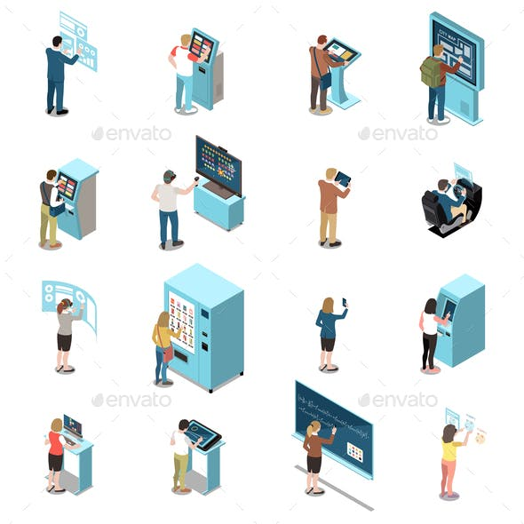 People And Interfaces Color Isolated Icons