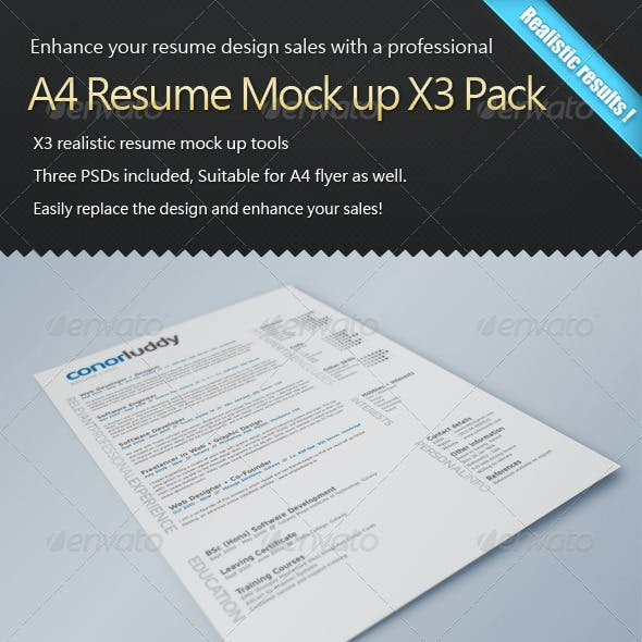 Resume Mock Up X3 Pack
