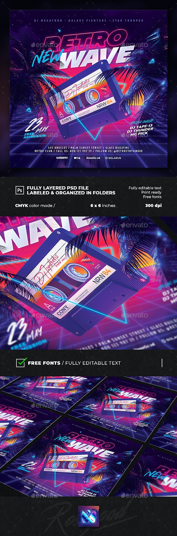 Party Flyer Retrowave - Clubs & Parties Events