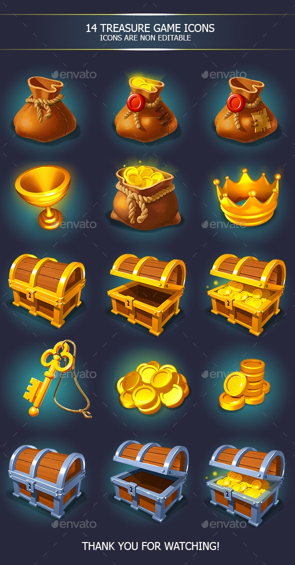 Treasure Golden Game Icons with Chests - Miscellaneous Game Assets