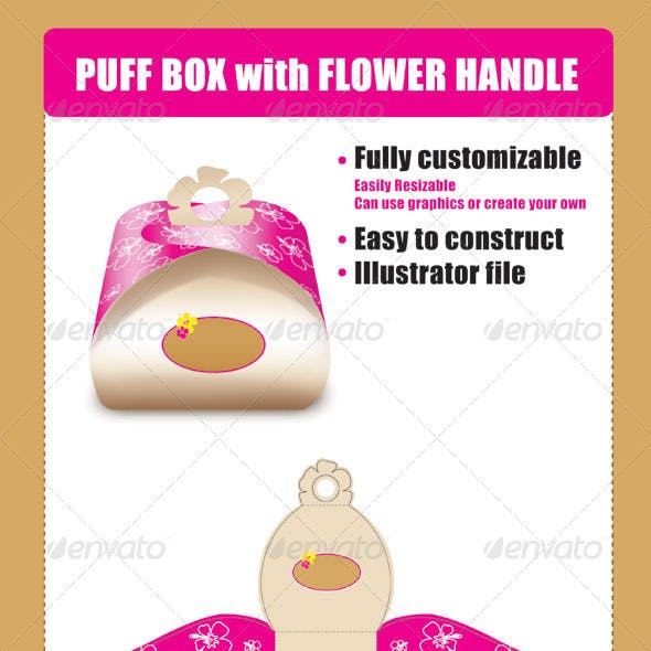 Puff Box Template with Flower Handle