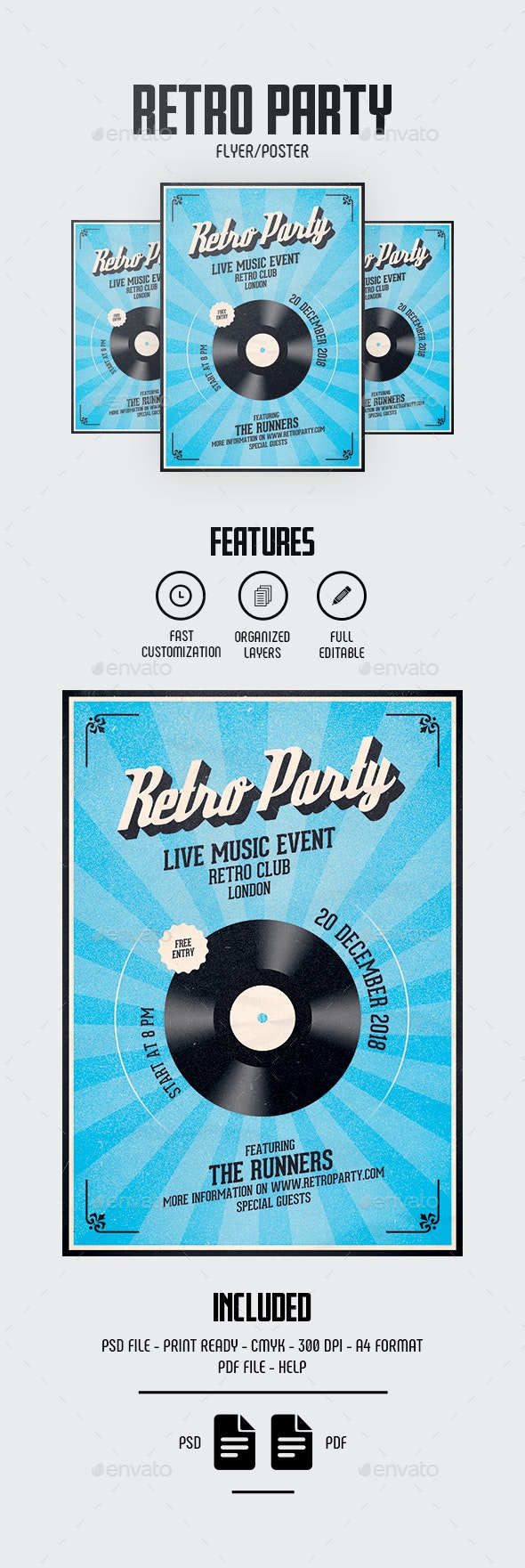 Retro Flyer/Poster - Concerts Events