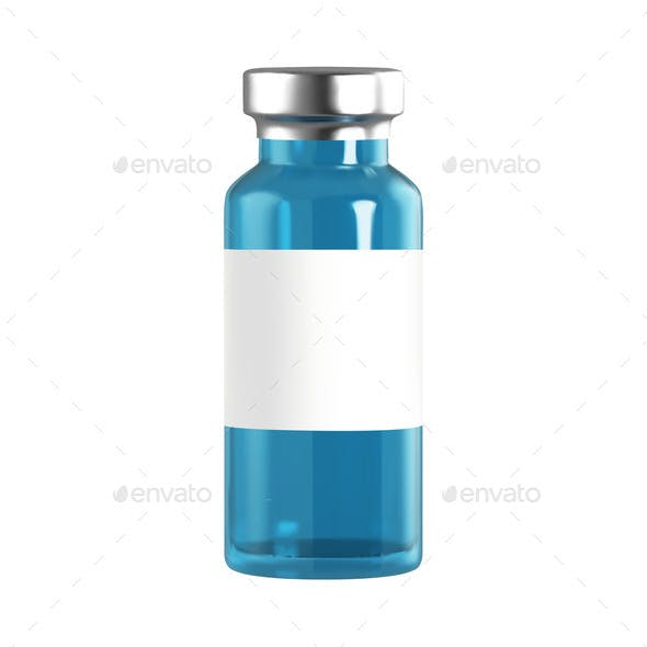 Realistic Glass Ampoules with Medicine