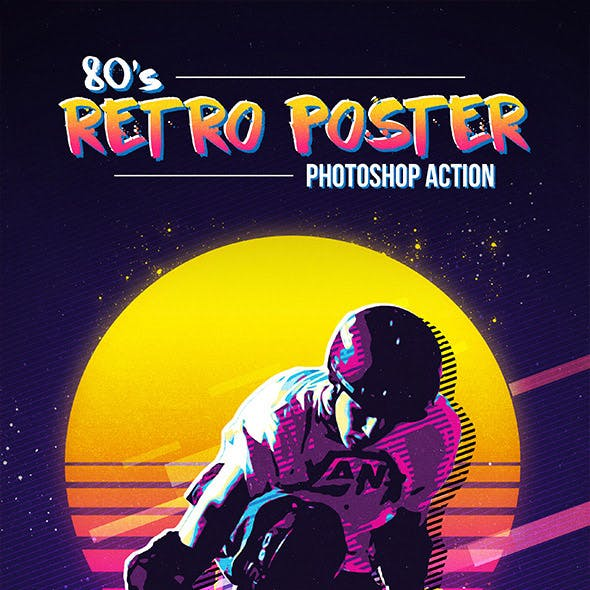 80's Retro Poster Photoshop Action