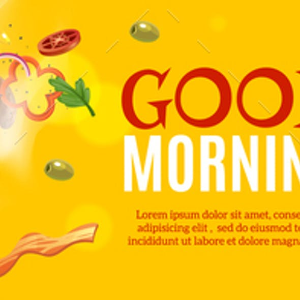Breakfast Horizontal Ads Poster