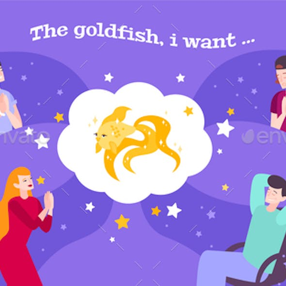 Goldfish People Wishes Composition