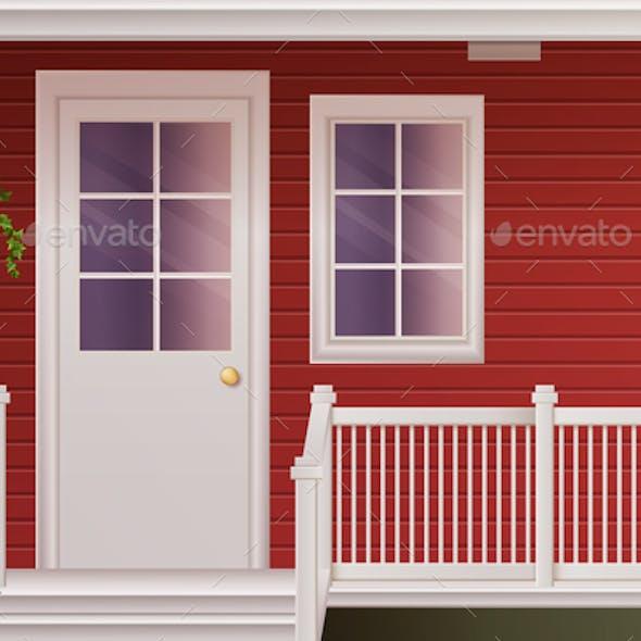House Facade With Fenced Terrace