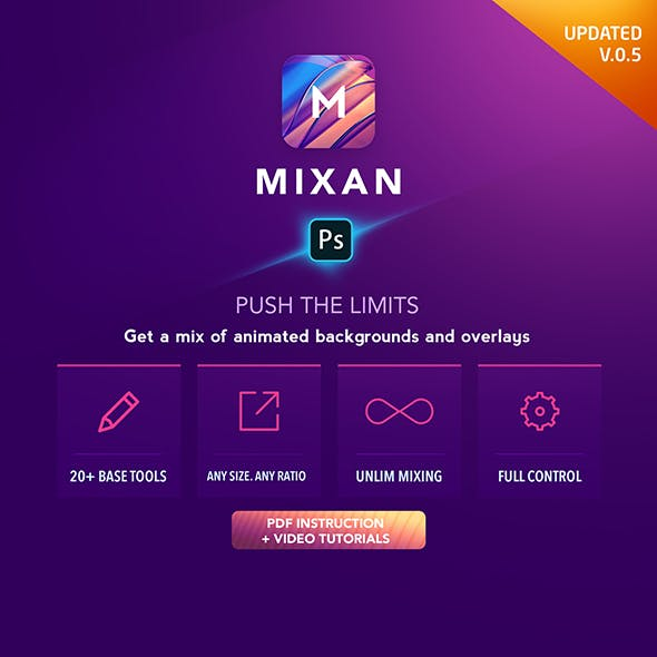 Mixan Photoshop Plugin for Animated Backgrounds and Overlays