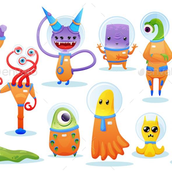 Aliens Cartoon Set