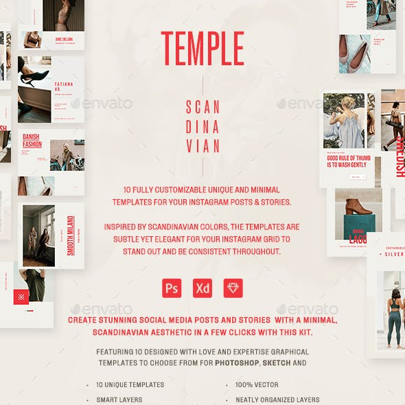 Temple Instagram Post & Stories Templates