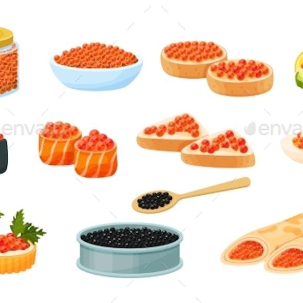 Caviar Red and Black, Vector Flat Illustration Set