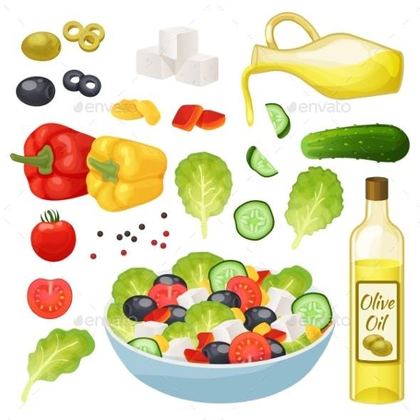 Isometric Greek Salad Vector Illustration, 3d