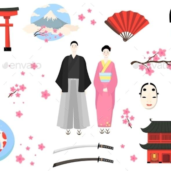 Japan Icon, Japanese People Vector Illustration