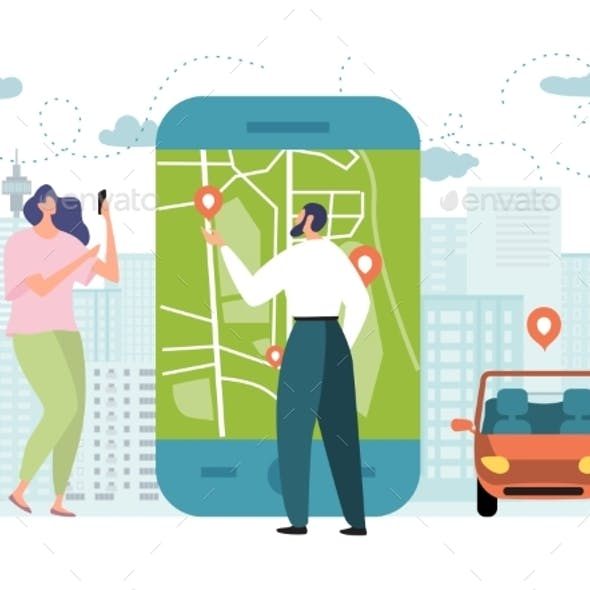 Online Car Service App Vector Illustration, Flat