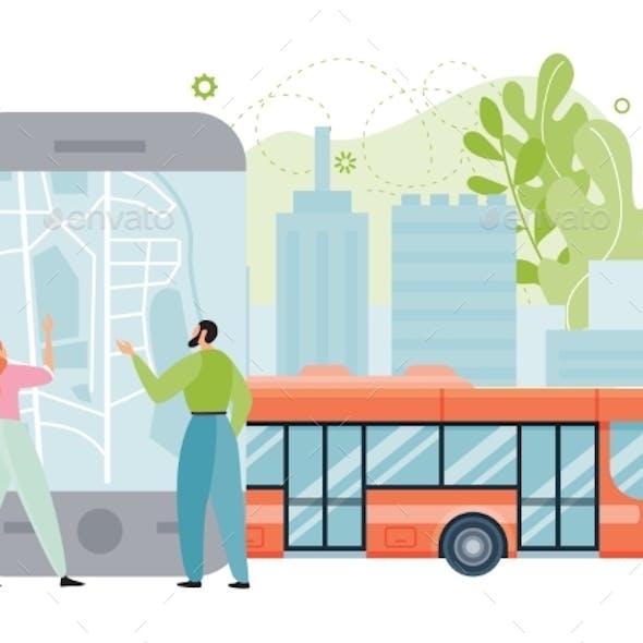 Public City Transport App Vector Illustration