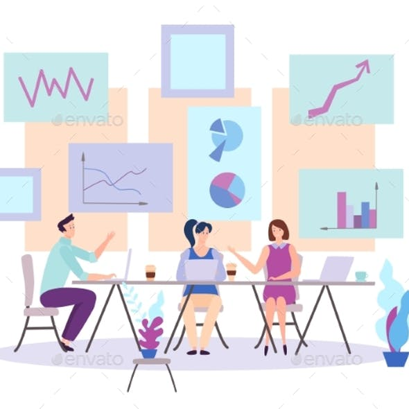 Business People Sitting at the Table Vector