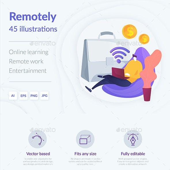 Remote Activities Vector Illustration Kit
