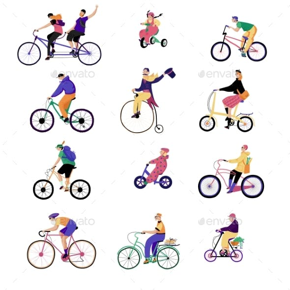 People Ride Bikes, Vector Illustration, Characters