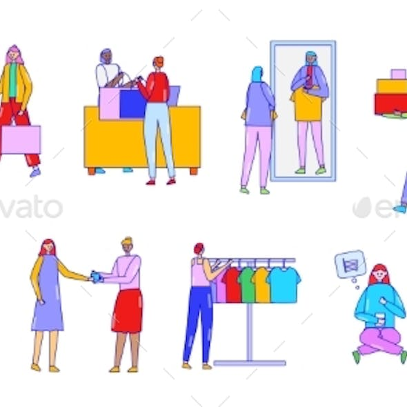 People Do Shopping, Buy on Sale, Vector
