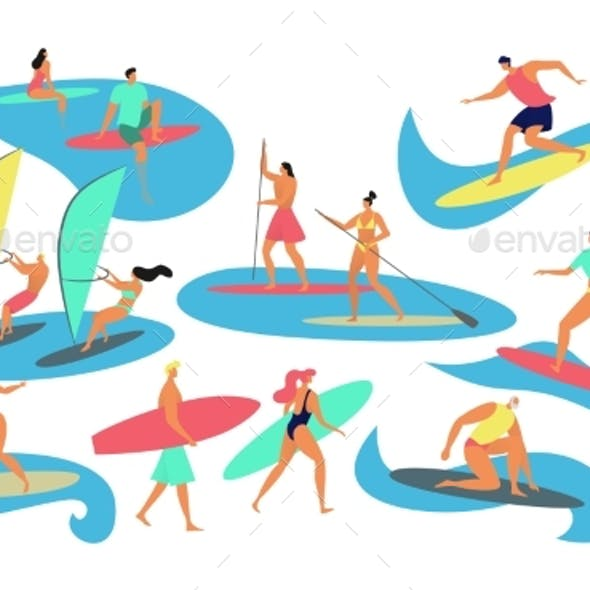 People Surfing, Windsurfing, Vector Illustration
