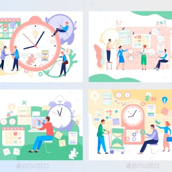 Time Management, Vector Illustration with People