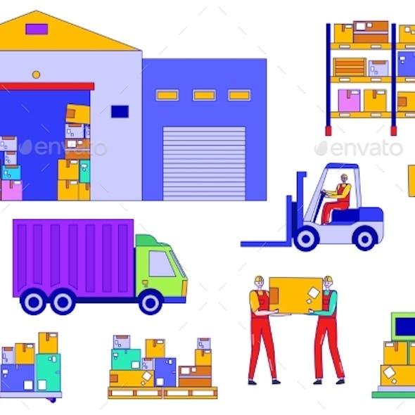 Warehouse Worker People Vector Illustration