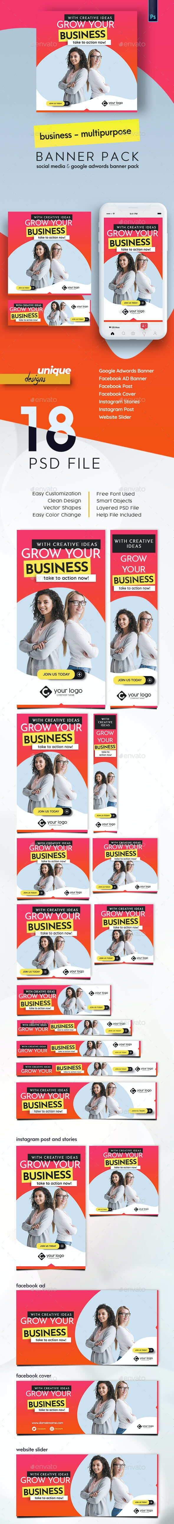 Business Banner Pack - Banners & Ads Web Elements