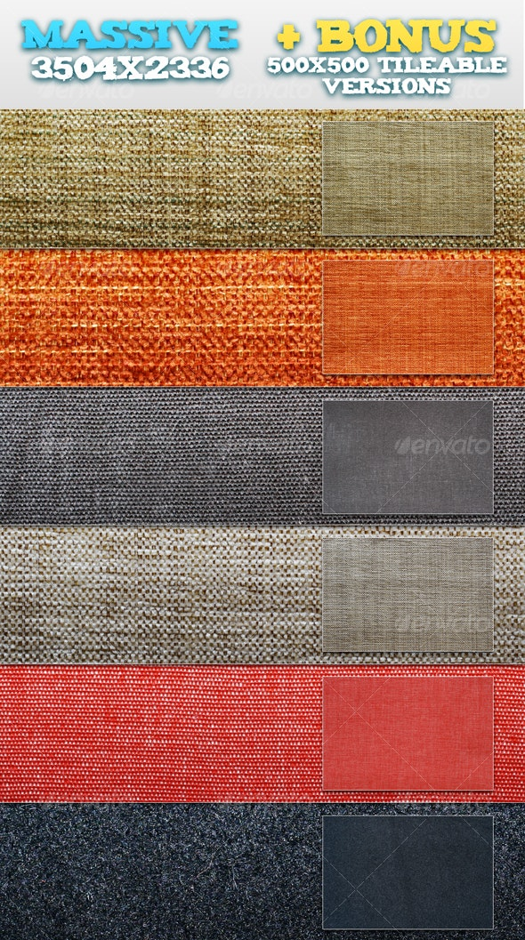 6 Plain Fabrics + BONUS Tileable Versions - Fabric Textures