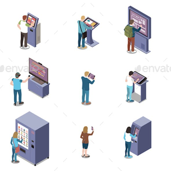 People And Interfaces Isometric Set