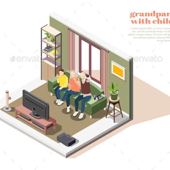 Grandparents With Children Isometric Composition