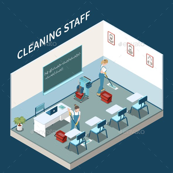 Professional Cleaning Isometric Composition
