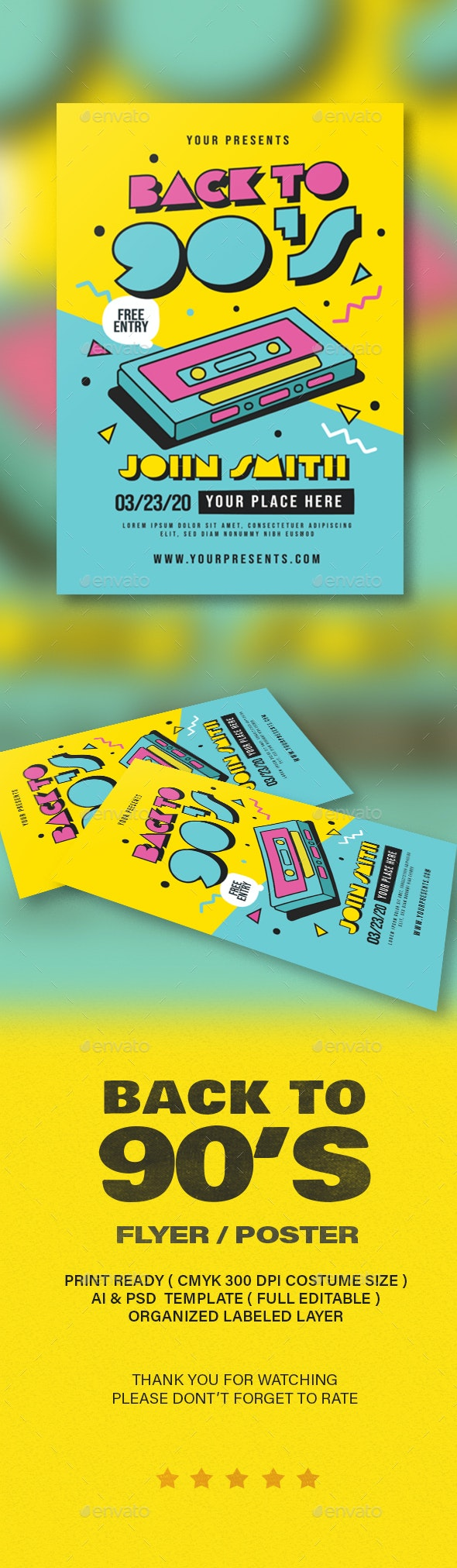 Back To 90s Flyer - Flyers Print Templates