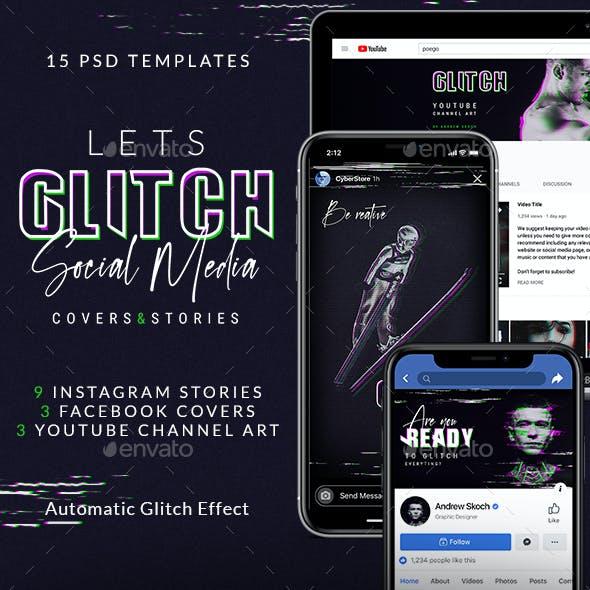 Glitch Social Media Templates